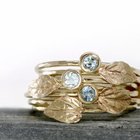 Aquamarine Leaf Ring in 14k Gold, Aquamarine Stacking Ring Set of Two, 14k Gold Stack Rings, thin hammered rings