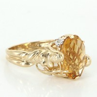 Vintage Nude Woman Figural Citrine Diamond Cocktail Ring 14 Karat Yellow Gold