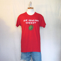 Vintage 70s ITALIAN ROADSTER GRAPHIC Funny Cars Soft Cherry Olives Red Medium 50/50 T-Shirt