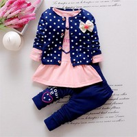 BibiCola Baby Girl clothing Sets kids 3PCS coat+T shirt + Pants Tracksuit Sets Toddler Girls Autumn Sport Suit baby girl outfits