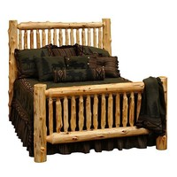 Cedar Small Spindle Log Bed - Queen