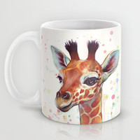 Baby Giraffe Watercolor Painting, Cute Animals Mug by Olechka