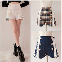 Sailor Style Lace Shorts With Bow On Back SP141151