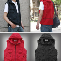 Fashion men women photography hooded vest jacket detachable cap fishing waistcoat work clothes red/black WM0015 salebags