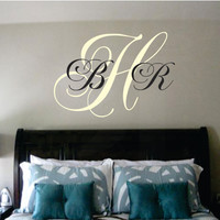 Three Initial Monogram DecalCustom Name by SignJunkies on Etsy