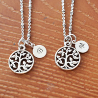 personalized best friend necklace, tree of life, bff, family tree necklace, friendship gift, bridesmaid gift, bohemian, silver tree pendant