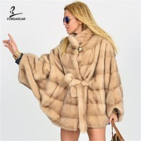 2020 Women Brown Minks Coat For Female Winter Real Fur Capes And Shawl Luxury Fashion Genuine Loose Mink Fur Jacket