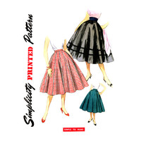 1950s 10 Gore Skirt Pattern Waist 28 Simplicity 1087 Full Flared Rockabilly Circle Skirt with Decorative Trims Womens Vintage Sewing Pattern