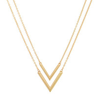 "Polished Gold Tone Necklace Featuring 1"" Double Arrows"