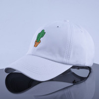 Cactus Embroidered Curved Brim Baseball Cap White Dad Hat