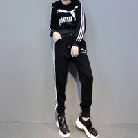 """Puma"" Women Casual Fashion Letter Logo Print Multicolor Stripe Long Sleeve Hoodie Trousers Set Two-Piece Sportswear"