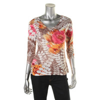 JM Collection Womens Petites Floral Print Embellished Pullover Top