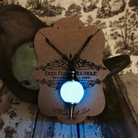 One of a kind Blue Glow In The Dark Pendulum with Gunmetal Rolo Chain Necklace, Wiccan Dowsing Divining Pendant