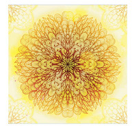 Yellow Brown Hippie Mandala Tapestry