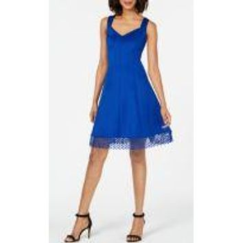 Donna Ricco Lace-Trim Fit and Flare Dress