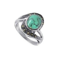 Amazon.com: Nickel Free Sterling Silver Oval Shaped 10mm x 11mm Reconstituted Turquoise Gemstone Marcasite 3mm Band Ring Size 5, 6, 7, 8, 9, 10: Jewelry
