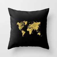 Gold Black World Map Throw Pillow by Edit Voros