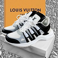 LV Shoes Louis Vuitton Sneakers Black White Pink Women Sports Shoes