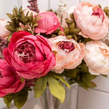 Cream Color Artificial Flowers Silk Flower Bouquet European Fall Vivid Peony Peonies Fake Leaf Crown Wedding Home Party Decoration Spray
