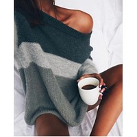 Pullover Winter Strapless Knit Sweater