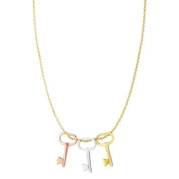 """14k 3 Color Yellow White And Rose Gold Key Charms Necklace, 18"""""""