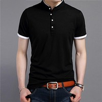 Summer Short Sleeve T Shirt Men Cotton Tee Shirt Homme Business Casual Stand Collar T-Shirt Men Clothing