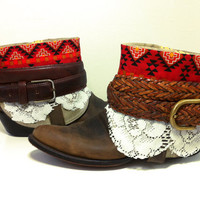 Size 9.5 Redesigned Southwestern Navajo Boho Women's Ankle Cowboy Boots