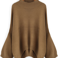 Khaki Round Neck Loose Dip Hem Sweater -SheIn(Sheinside)