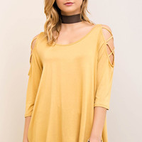 Scoop Neck with Strappy Open Shoulder Top