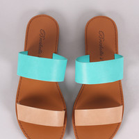 Breckelle Leather Two-Tone Double Band Slide Sandal