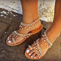 B| Chicloth Women Leather Sandals Casual Pearls Shoes