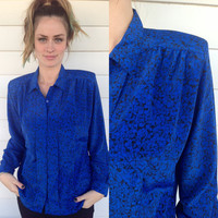 vintage blouse, blue with black flower print, by Notations, size M