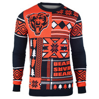 """Chicago Bears Official Men's NFL """"Ugly Patches"""" Sweater by Klew"""