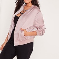 Missguided - Plus Size Satin Bomber Jacket Lilac
