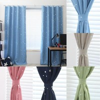 139cm x190cm luxury modern Star Kids Child Bedroom curtains with 5 colors Window Blackout Thermal Solid Curtain For Living room