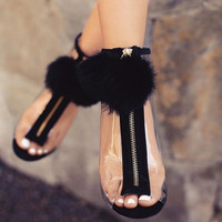 Women High Heel Peep Toe Transparent Clear Ankle Boots Summer Sexy Fluff Ball Gladiator Sandals Bootie Shoes Stilettos Black