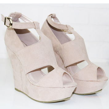 Show Me The Way Pale Pink Wedge Sandals