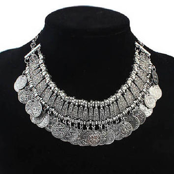 Hot Sale Women Fashion Silver Coins Pendant Statement Bib Chunky Charm Choker Collier Necklace statement Necklace 2015