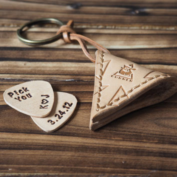 Personalized Hand-Tooled Leather Guitar Pick Case Keychain #Natural Nude