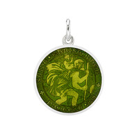 Betteridge Small Silver St Christopher Medal with Moss Green Enamel
