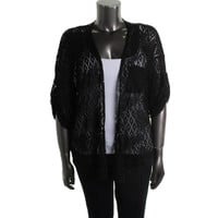 Style & Co. Womens Plus Knit Open Stitch Cardigan Top