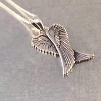 Double Angel Wing Necklace, Angel Wing Necklace, Sterling Winged Necklace, Angel Charm, Holiday Gift