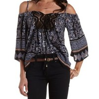 Black Floral Print Cold Shoulder Top by Charlotte Russe