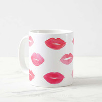 Lips Mug, Lips Coffee Mug, Eyelash Mug, Makeup Brush Cup, Lipstick Mug, Makeup Mug, Mug Gift, Girl Mug, Love Gift, Gift For Her, Coffee Mug
