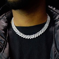 Diamond Prong Cuban Link Choker (12mm) in White Gold