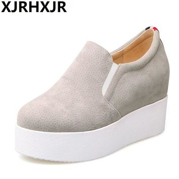 Hot Sale Autumn Style Women Shoes Hidden Wedge Heels Women's Elevator Shoes Casual Shoes For Women Height Increasing Solid Color