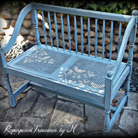 Vintage bench, entryway bench, shabby chic bench, rustic bench, stenciled bench, painted bench, blue bench, distressed bench, bench