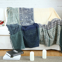 Bohemian blanket Sofa cover Jacquard knit throw Geometric pattern carpet Classical royal chenille super soft decorated blankets