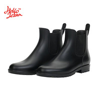 Hellozebra Women Rain Boots Waterproof Fashion Ankle Rubber Elastic Band Solid Color Raining day Shoes Low Heel 2017 Autumn New