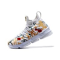 Nike LeBron James 15 XV White Flower Basketball Shoe US 7-12